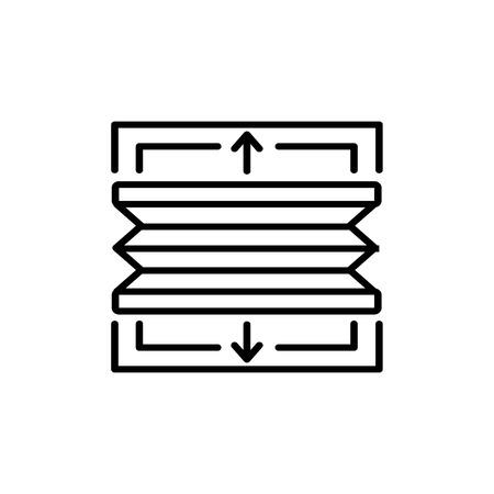 Illustration vectorielle noir et blanc de stores plissés de haut en bas de bas en haut. Icône de ligne de jalousie de rideau horizontal de fenêtre. Objet isolé sur fond blanc
