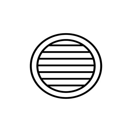 Black & white vector illustration of venetian curtain shutter. Line icon of round window horizontal blind jalousie. Isolated object on white background