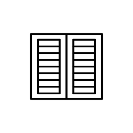 Black & white illustration of old louver window shutter. Vector line icon of wooden vintage outdoor jalousie. Isolated object on white background Vettoriali