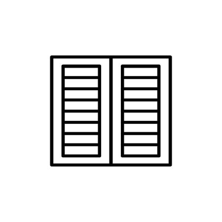 Illustration en noir et blanc de l'ancien volet de fenêtre à persiennes. Icône de ligne vectorielle de jalousie extérieure vintage en bois. Objet isolé sur fond blanc