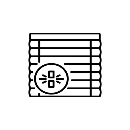 Black & white vector illustration of venetian wood curtain shutter. Line icon of window horizontal wooden jalousie. Isolated object on white background Ilustracja