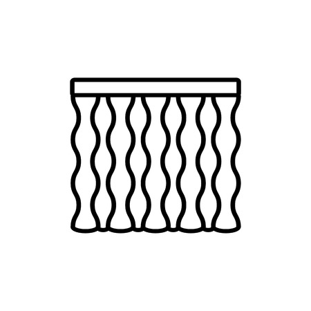 Black & white vector illustration of wave shape curtain shutter. Line icon of window vertical blind jalousie. Isolated object on white background