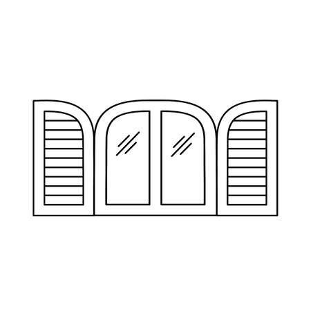 Black & white illustration of old louver arch window shutter. Vector line icon of wooden vintage outdoor jalousie. Isolated object on white background 向量圖像