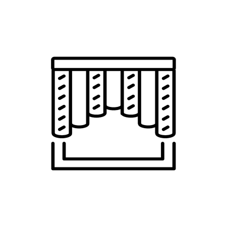 Black & white vector illustration of combi curtain shutter. Line icon of window vertical blind jalousie. Isolated object on white background Foto de archivo - 118216308