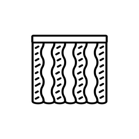 Schwarz-Weiß-Vektor-Illustration des Kombiwellenvorhangs. Liniensymbol der vertikalen Jalousie des Fensters. Isoliertes Objekt auf weißem Hintergrund