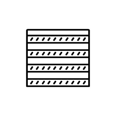 Schwarz-Weiß-Vektor-Illustration des Kombi-Vorhangverschlusses. Liniensymbol der horizontalen Jalousie des Fensters. Isoliertes Objekt auf weißem Hintergrund