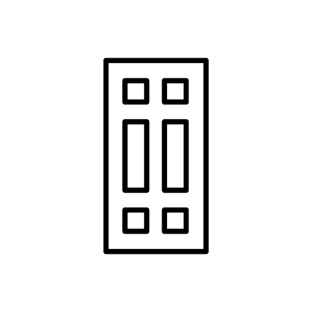Black & white illustration of closed wooden panel door. Vector line icon. Isolated object on white background Illusztráció