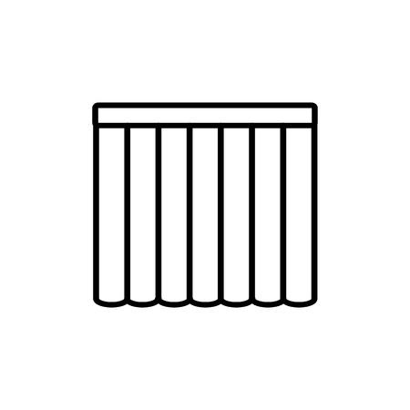 Schwarz-Weiß-Vektor-Illustration von Rollladen. Liniensymbol der vertikalen Jalousie des Fensters. Isoliertes Objekt auf weißem Hintergrund