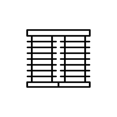 Black & white vector illustration of venetian curtain shutter. Line icon of window horizontal blind jalousie. Isolated object on white background