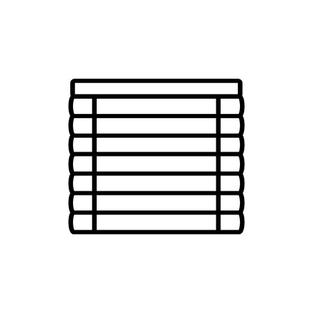 Black & white vector illustration of venetian plastic curtain shutter. Line icon of window horizontal jalousie. Isolated object on white background