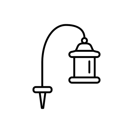 Black & white vector illustration of pathway lantern lamp. Line icon of  outdoor landscape light fixture. Isolated object on white background