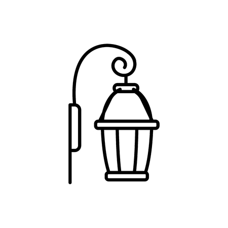 Black & white vector illustration of wall sconce lantern lamp. Line icon of outdoor & indoor light fixture. Isolated object on white background