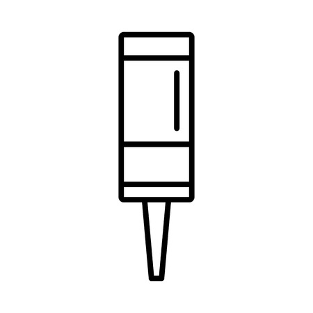 Black & white vector illustration of pathway bollard lamp. Line icon of  outdoor landscape light fixture. Isolated object on white background