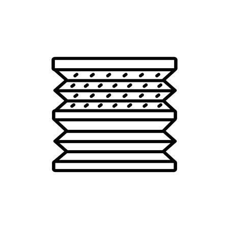 Schwarz-Weiß-Vektor-Illustration von doppelt gefalteten Jalousien. Liniensymbol der horizontalen Vorhangjalousie des Fensters. Isoliertes Objekt auf weißem Hintergrund