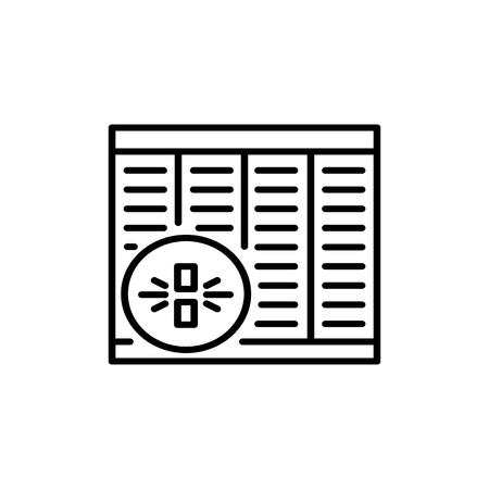 Illustration vectorielle noir & blanc de volet roulant en bois de bambou. Icône de ligne de jalousie en bois horizontale de fenêtre. Objet isolé sur fond blanc