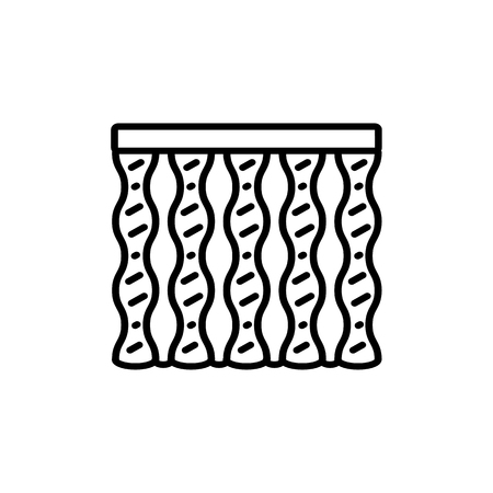 Black & white vector illustration of combi wave curtain shutter. Line icon of window vertical blind jalousie. Isolated object on white background Foto de archivo - 123311805