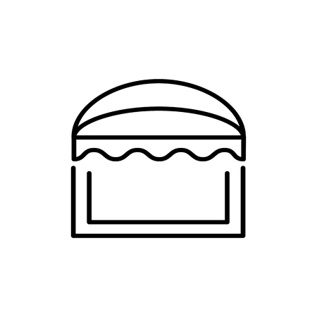 Black & white vector illustration of sun shade awning. Line icon of window canopy. Isolated object on white background