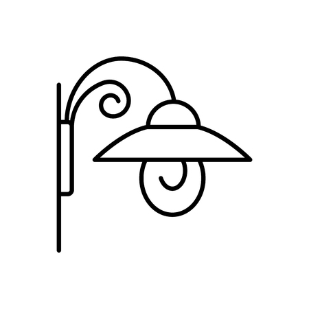Black & white vector illustration of wall sconce lantern lamp. Line icon of outdoor & indoor light fixture. Isolated object on white background  イラスト・ベクター素材