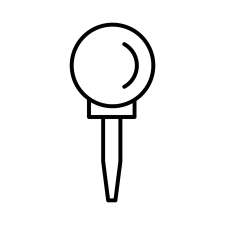 Black & white vector illustration of pathway bollard round lamp. Line icon of  outdoor landscape light fixture. Isolated object on white background