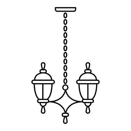 Black & white vector illustration of hanging pendant lantern lamp. Line icon of outdoor & indoor light fixture. Isolated object on white background