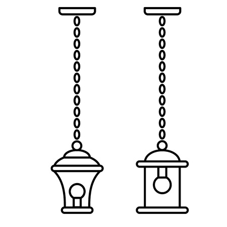 Black & white vector illustration of hanging pendant lantern lamp. Line icon of outdoor & indoor light fixture. Isolated object on white background Vector Illustration