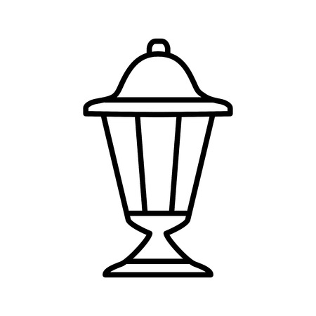 Black & white vector illustration of outdoor ground lantern. Line icon of retro light fixture. Isolated object on white background