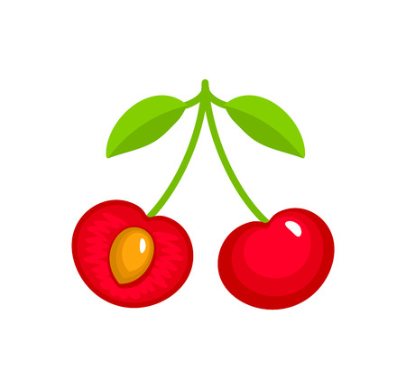 Vector illustration of two red ripe cherries with stem & leaves. Flat icon set of organic fresh berries. Natural vegetarian food. Isolated object on white background