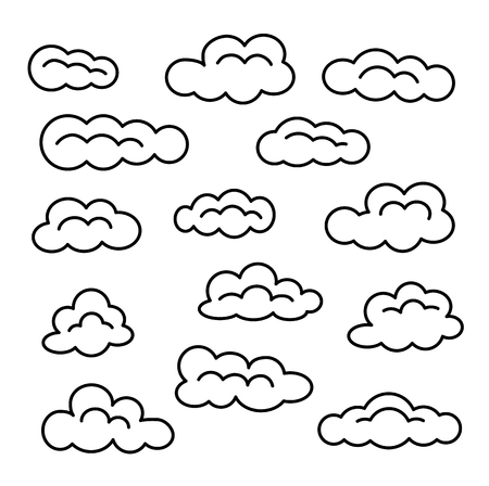 Cloud icon set. Vector line signs. Sky cloudscape. Isolated objects on white background.