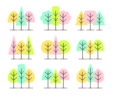 Simple geometric tree symbols. Flat icon set of forest plants. Natural park & garden signs. Isolated object on white background