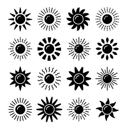 Collezione di simboli del sole. Insieme dell'icona di vettore piatto bianco e nero. Segni di luce solare. Previsioni del tempo. Oggetto isolato su sfondo bianco.