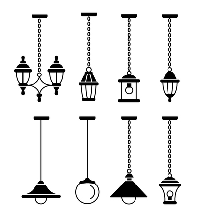 Portch & patio lights. Outdoor vintage pendants & lanterns. Vector flat icon set. Isolated on white background.