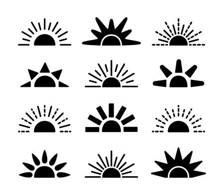 Sonnenaufgang & Sonnenuntergang Symbolsammlung. Horizontale flache Vektorsymbole. Morgensonnenlichtzeichen. Isoliertes Objekt auf weißem Hintergrund Vektorgrafik