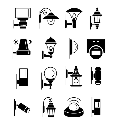 Porch & patio lights. Security devices. Outdoor wall lighting. Vector flat icon set. Isolated on white background.  イラスト・ベクター素材