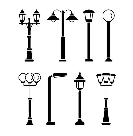 Lampadaires. Éclairage extérieur de parc et de jardin. Jeu d'icônes plat de vecteur. Isolé sur fond blanc