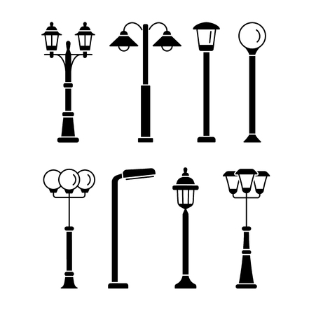 Oświetlenie uliczne. Oświetlenie zewnętrzne parku i ogrodu. Wektor zestaw ikon płaski. Na białym tle