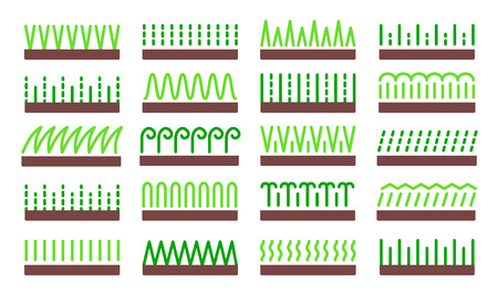 Grass icon vector set. Lawn meadow flat symbols. Natural park & garden signs. Isolated object on white background Illustration