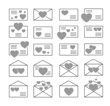 Love letters symbols. Vector icon set. Valentine's day mail. Open & closed envelopes with hearts. Isolated objects on white background