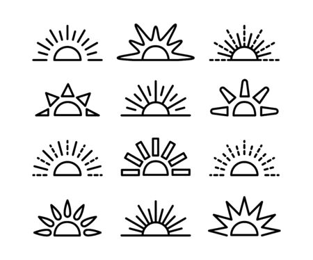Sunrise & sunset symbol collection. Horizon line vector icon set. Morning sun light signs. Isolated object on white background.