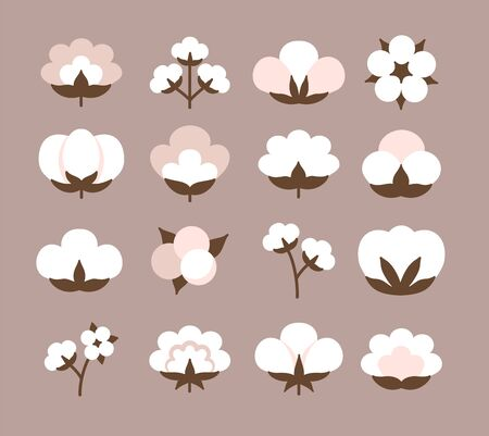 Cotton flower & ball. Beige pastel symbol & logo of natural eco organic textile, fabric. Flat icon set. Vector illustration