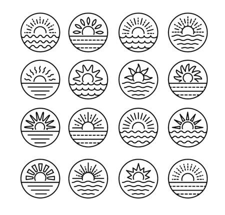Sunrise over sea. Sunset over ocean. Summer round labels, emblems with sun & waves. Set of line symbols, signs for travel & tourism. Black & white vector illustration Ilustração