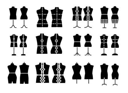 Male & female dressmaking mannequin. Signs of tailor dummy. Display bust, torso. Adjustable dress form. Flat icon set.