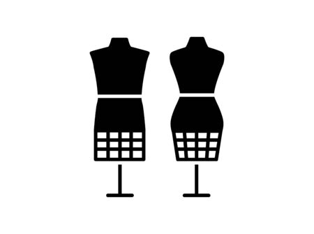 Male & female dressmaking mannequin with bottom cage. Sign of tailor dummy. Display bust, torso. Professional dress form. Stock Illustratie