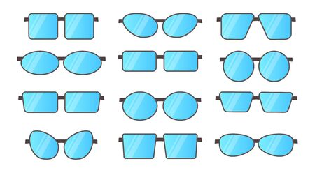 Vector illustration of frameless glasses. Flat icon set. Different shapes of reading rimless eyeglasses. Isolated objects on white background Stock Illustratie