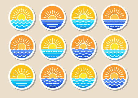 Sunrise over sea. Sunset over ocean. Summer round labels, emblems with sun  waves. Set of flat symbols, signs for travel & tourism. Colorful vector illustration