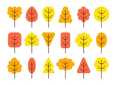 Simple geometric tree symbols. Flat icon set of autumn forest plants. Natural park  garden signs. Isolated object on white background