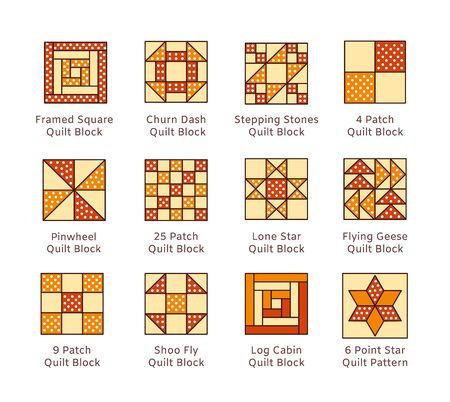 Quilt sewing pattern. Log cabin, pinwheel tiles. Quilting patchwork blocks from fabric squares, triangles. Vector flat colorful icon set. Isolated objects on white background