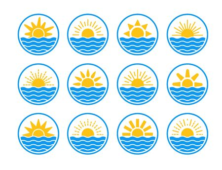Sunrise over sea, ocean. Sunset over lake, river. Summer round labels, emblems with sun  waves. Set of flat symbols Stock Illustratie
