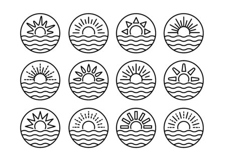 Sunrise over sea. Sunset over ocean. Summer round labels, emblems with sun & waves. Set of line symbols, signs for travel & tourism. Black & white vector illustration Stock Illustratie