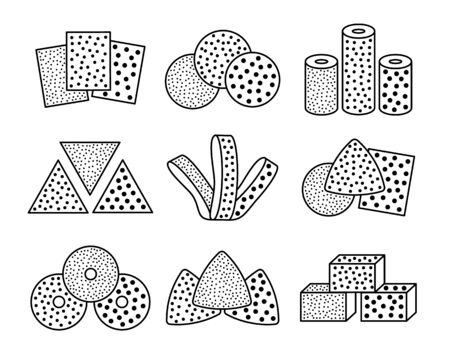 Sandpaper sheets, discs, rolls, triangles. Black & white vector illustration of sanding abrasive paper. Line icon set of glass papers with assorted grit texture. Isolated objects