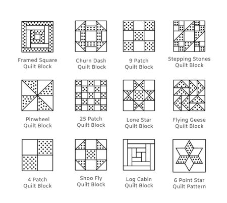 Quilt sewing pattern. Log cabin, pinwheel tiles. Quilting & patchwork blocks from fabric squares, triangles. Vector line icon set. Isolated objects on white background